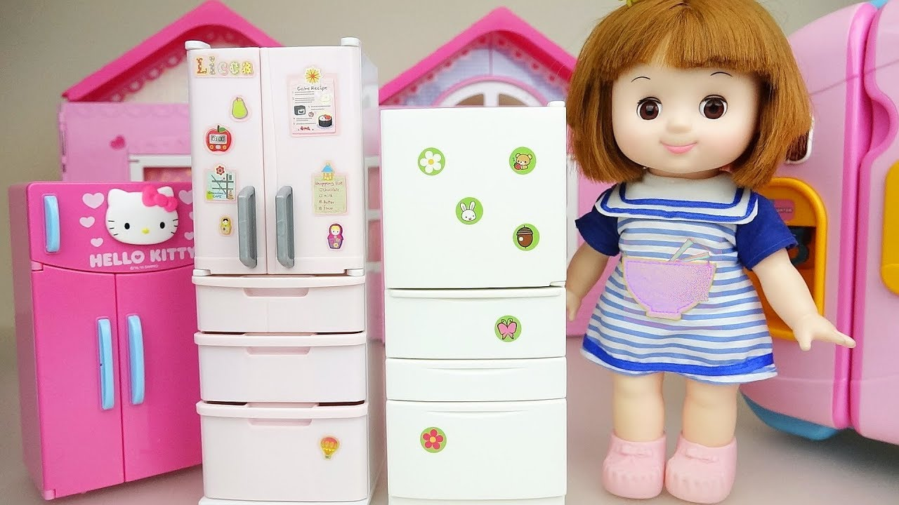 Baby doll refrigerator food play baby Doli house