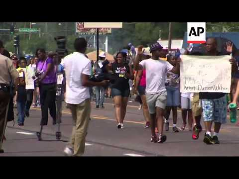 Two weeks after Michael Brown was killed by a police officer in Ferguson, Mo., a large crowd of peop