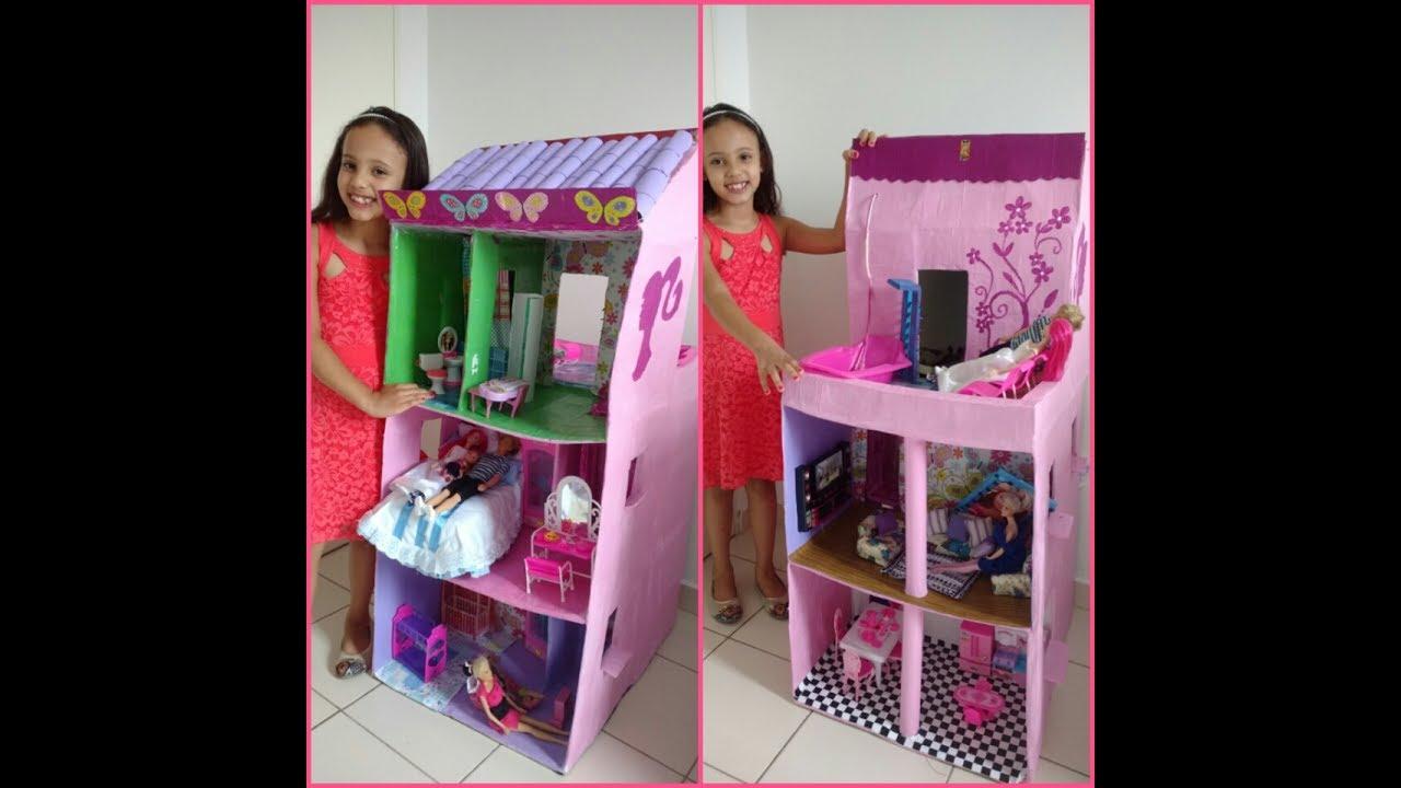 PASSO A PASSO Casa da Barbie feita com caixa de papelo  YouTube