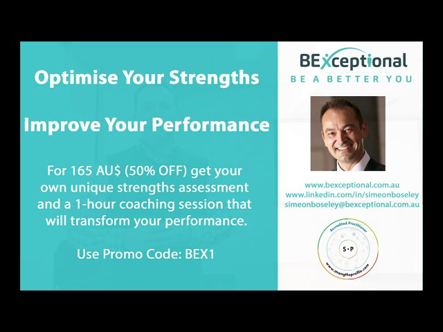 Optimise Your Strengths & Improve Your Performance - 50% Promo Code: BEX1