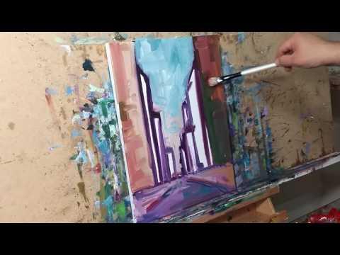 Artist JOSE TRUJILLO Oil Painting Cityscape Buildings Demo - Impressionist Art Tutorial