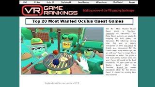 VR Game Rankings Work Stream - Test 1