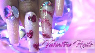 Acrylic Nails Tutorial - How To Encapsulated Nails with Nail Tips - Glitter Acrylic Nails