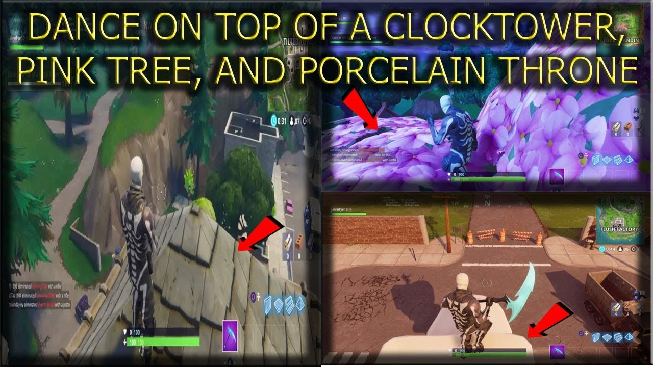 Fortnite Season 6 Week 4 Dance On Top Of A Clocktower Pink Tree