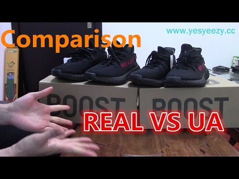Comparison of Real VS UA Adidas Yeezy Boost 350 V2 Bred