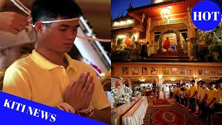 Thai cave boys pray for protection from misfortunes on visit to Buddhist temple
