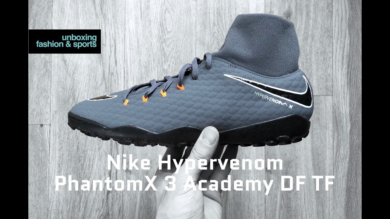 huge selection of cc801 28841 Nike HYPERVENOM PhantomX 3 Academy DF TF | UNBOXING & ON FEET | football  boots | 2018 | 4K