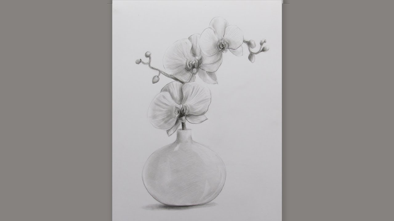How To Draw A Flower Vase 2 Pencil Sketch Flower Vase Drawing Youtube