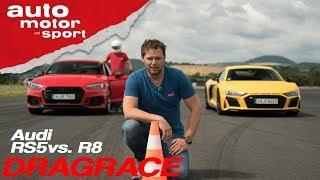 Drag Race: Audi RS5 vs. Audi R8 - Ungleiche Brüder beim Kampf gegen die Uhr? I auto motor und sport