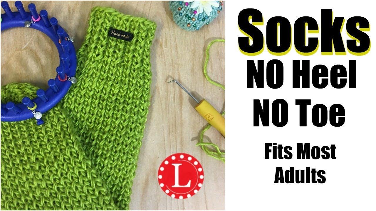How to LOOM KNIT SOCKS on Round Loom (No Heel No Toe No Folded Cuff ...
