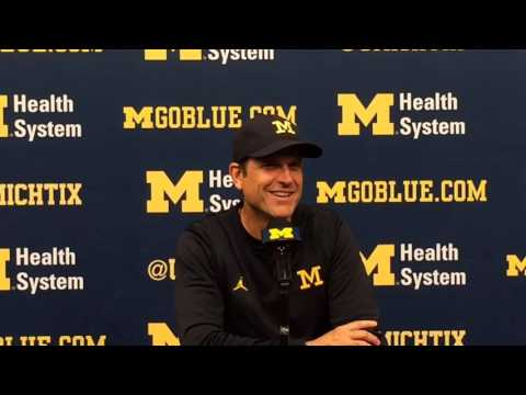 Jim Harbaugh talks Tom Brady's visit, playing catch at Michigan Stadium