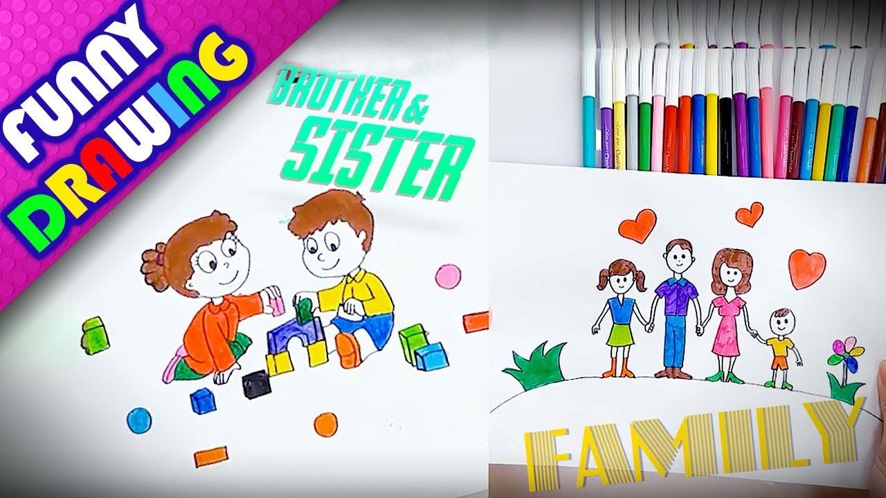 DIY - How to draw a happy family easy - Dạy bé vẽ và tô màu