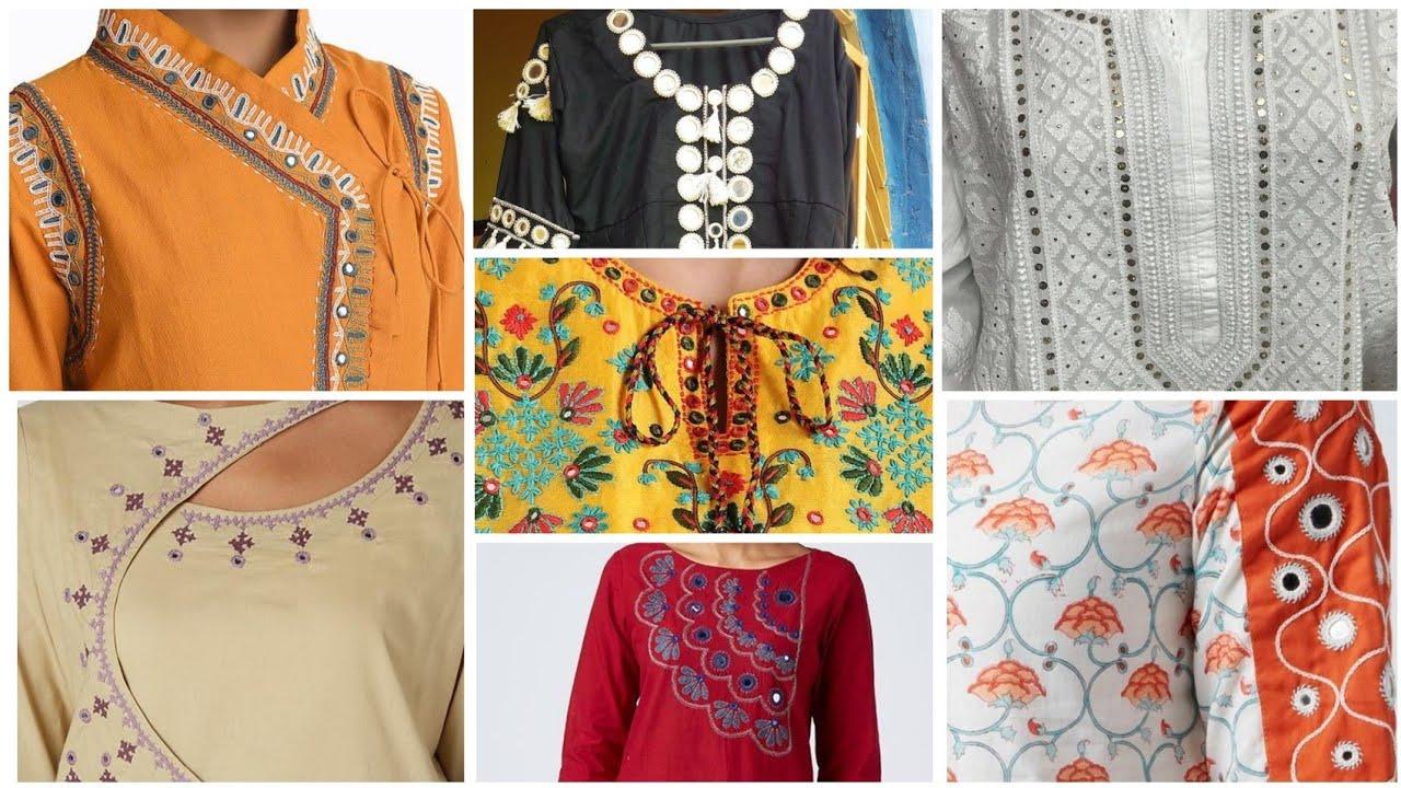 Neck design ideas /neck design ideas with mirror work /embroidered neck design