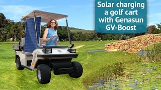 Charging a golf cart with a solar panel using a Genasun charge controller