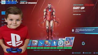 TRUMAnn Giving His 6 Year Old Kid TIER 100 IRON MAN (Tony Stark) NEW Fortnite Marvel Battle Pass!!