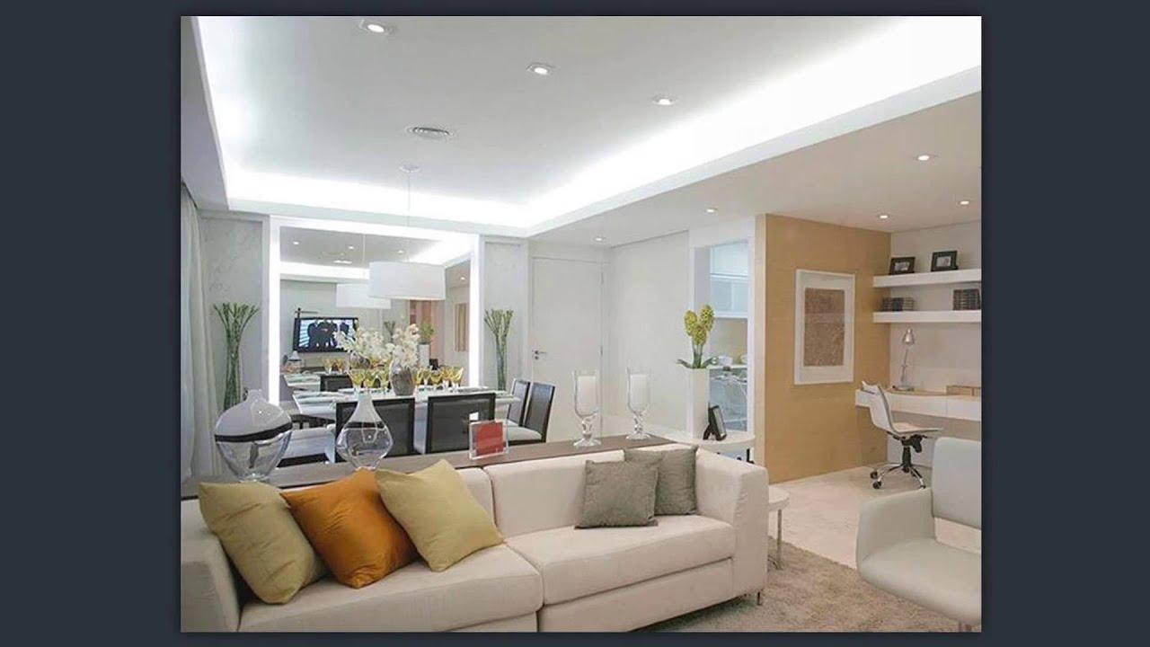 Sanca Gesso Sala 2 Ambientes Iluminao De Painel De Tv Na Sala De  -> Sanca De Gesso Sala De Tv
