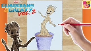 How To Draw And Colour In Baby Groot 🌍 Guardians Of The Galaxy 🌍 Drawing For Kids 🎨 Crafty Kids
