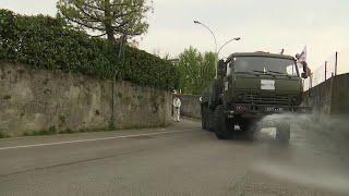 Российские специалисты начали работу в Бергамо, где катастрофическая ситуация из-за коронавируса.