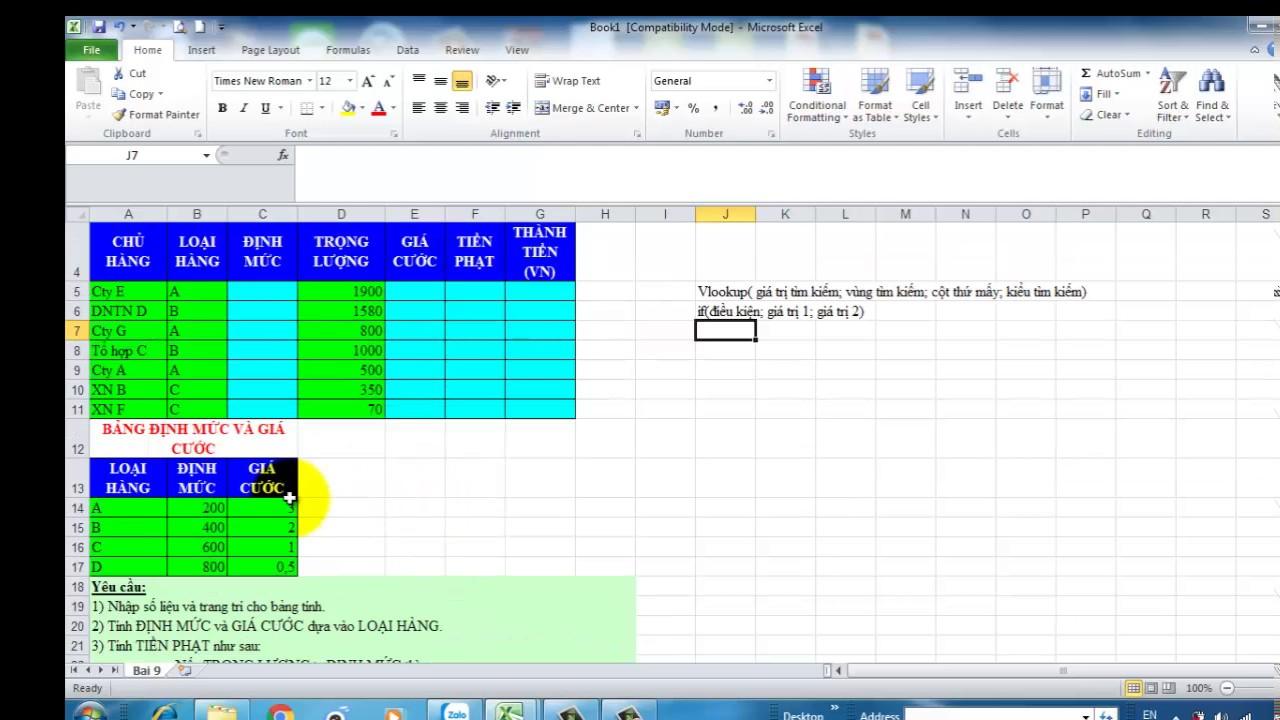 Hướng dẫn bài tập tính chi phí vận chuyển kết hợp hàm Vlookup và hàm IF trong excel