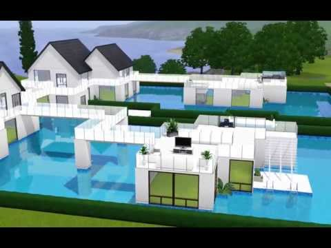 The sims 3 modern pool house v 2 0 youtube for Pool design sims 3