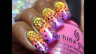 Neon Abstract Swirls & Dots Nail Art Tutorial (nail Matinee/beutometry)