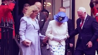 David Johnston breaks royal etiquette as he touches the Queen