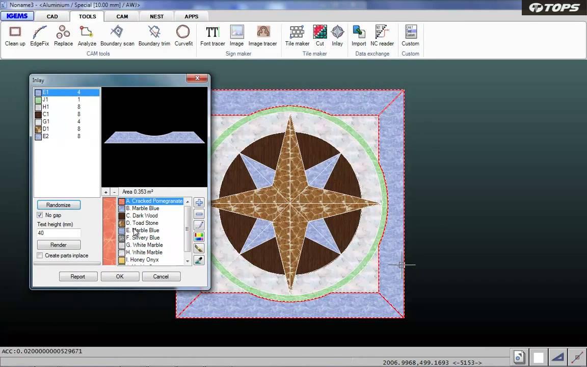 [TOPS Waterjet]Software - Tile Maker