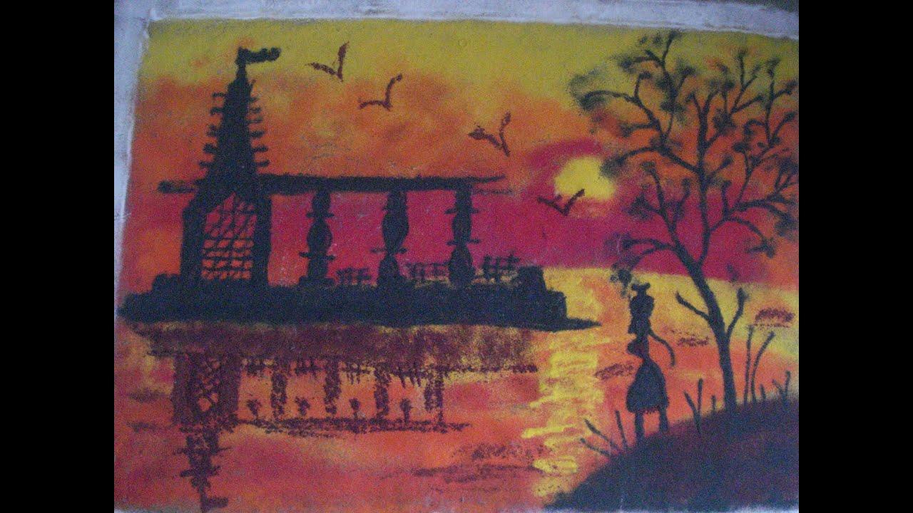 Poster design rangoli - How To Draw Poster Rangoli Scenery Rangoli By Using Shading With Beautiful Temple 2016
