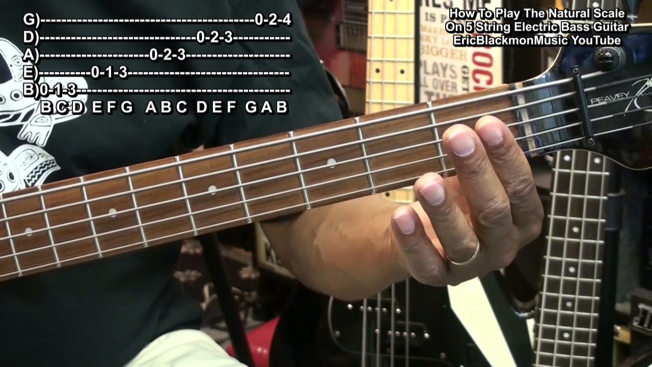 how to play the natural scale on 5 string electric bass guitar tutorial lesson ebmtl hd youtube. Black Bedroom Furniture Sets. Home Design Ideas