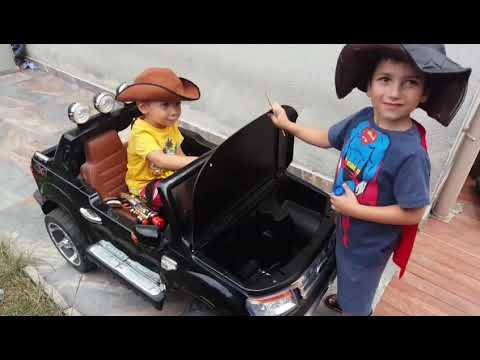 Playing Children With Car Western And Fight