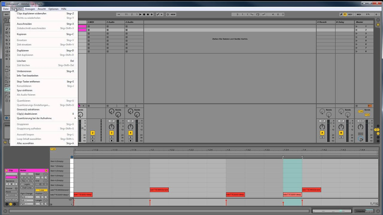 ableton live 9 tutorial - session view / ableton mixer - deutsch -03