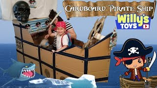 Kid Sails a Cardboard PIRATE SHIP and Finds Surprise TREASURE of Blind Bag Toys and Candy  FUNNY
