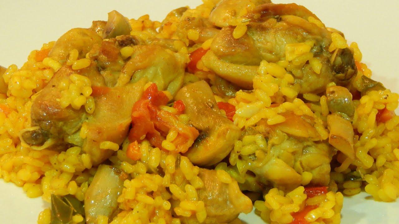Arroz con pollo conejo y verduras receta f cil youtube - Pollo con almendras facil ...