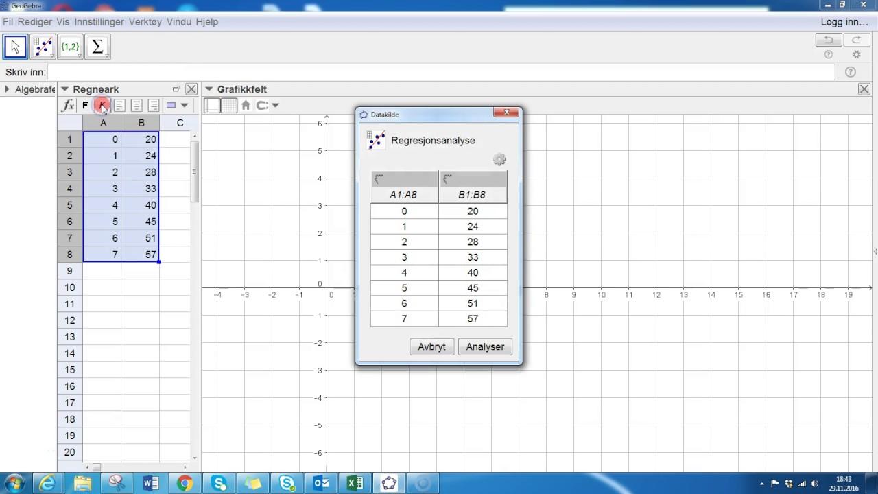 Lineær regresjon med regresjonsanalyseverktøy i Geogebra, 2p
