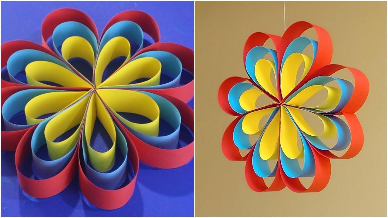 Dekorasi Kreatif Membuat Hiasan Gantung Dari Kertas Origami Hiasan Kamar Youtube