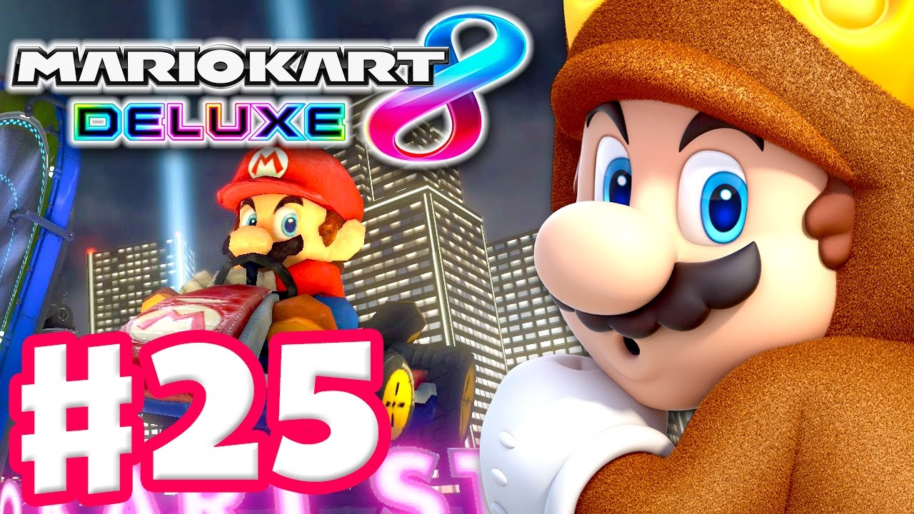 Mushroom Cup 200cc! Tanooki Mario! - Mario Kart 8 Deluxe - Gameplay  Walkthrough Part 25