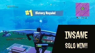 EPIC SOLO WIN!! I HAD NO RESOURCES OR MEDS!! Fortnite Battle Royale Ep. 4