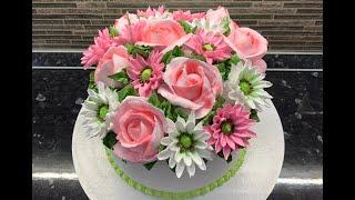 ТОРТ БУКЕТ из Белкового крема Розовые РОЗЫ и ХРИЗАНТЕМЫ Торт на День рождения Красивый торт