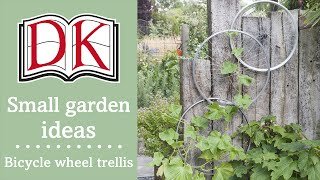 Small Garden Ideas: Bicycle Wheel Trellis