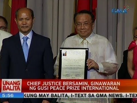 UB: CJ Bersamin, ginawaran ng Gusi Peace Prize International