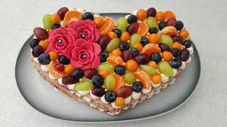 НЕВЕРОЯТНО вкусно и красиво Фруктовый торт сердце на любой праздник Торт к 14 февраля
