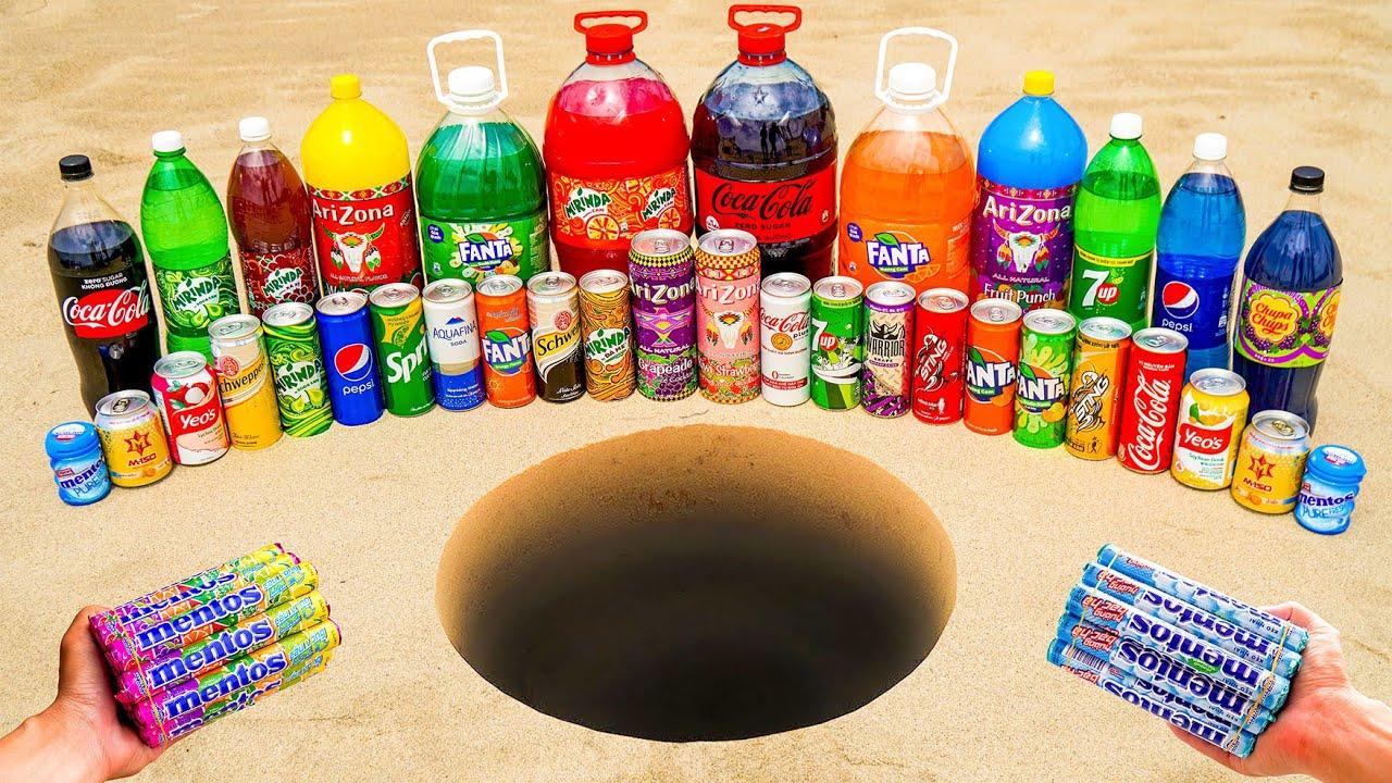 Experiment: Big Coca Cola, Mirinda, Different Fanta, Arizona, 7up, Pepsi vs Mentos Underground!