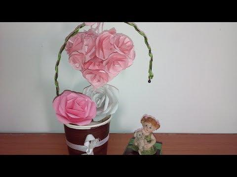 Easy Handmade Showpiece   Paper Heart Showpiece   Home Decoration Ideas   DIY   Easy Handmade Gifts