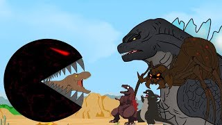 Godzilla vs Shin Godzilla: PAC MAN Attack Dinosaurs Funny | Godzilla & Dinosaurs Movie Cartoon