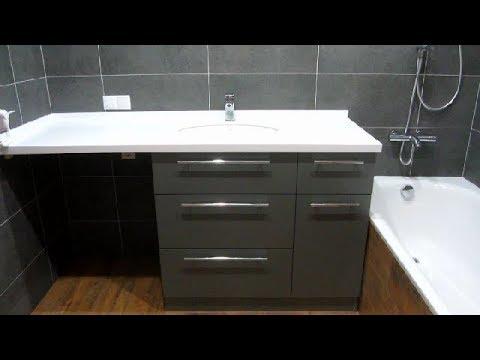 Часть-17 Какой должна быть мебель для ванной.Тумба+раковина VoLLe+столешница из акрилового камня.