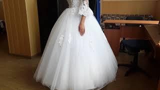 Богатое свадебное платье.  Белое свадебное платье с рукавами и кружевом#Eli-stor.com
