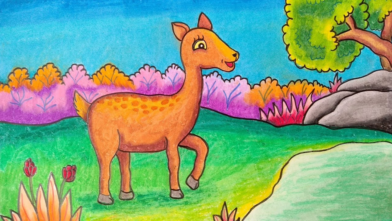 Cara Menggambar Kancil Menggambar Kancil Di Hutan Youtube