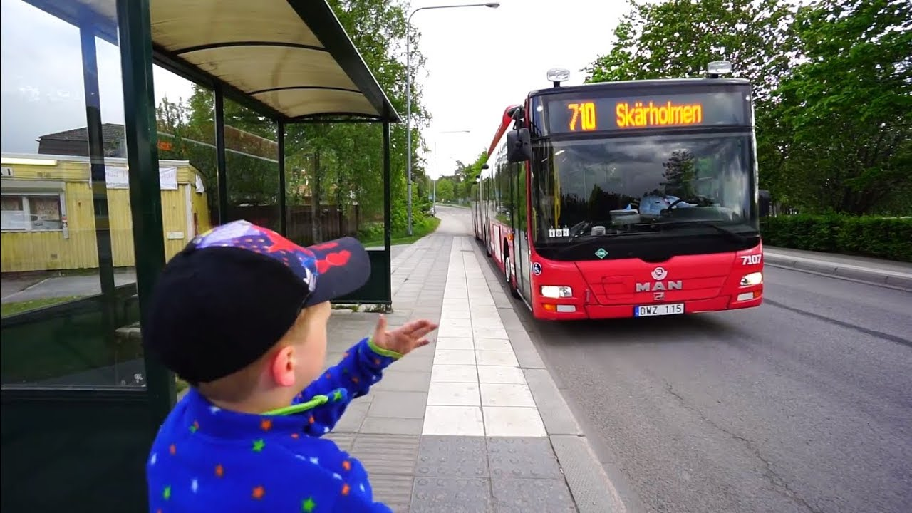 sweden, stockholm, ride with bus no 710 from norrgårdsvägen to