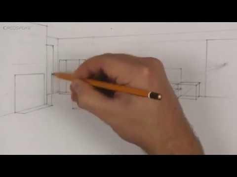 dessin espace chambre 2 point s de fuite - YouTube