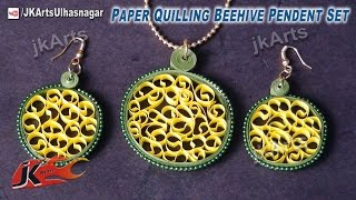 DIY  Beehive Paper Quilling Jewelry Earring Pendent Set |  How to make | JK Arts 416